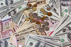 Internation currencies portrays the world financial issue on quan Royalty Free Stock Images