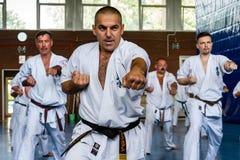 Internationaal de karate van de zomerkyokushinkai opleidingskamp in Hongarije Stock Fotografie