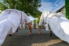 Internationaal de karate van de zomerkyokushinkai opleidingskamp in Hungar Stock Foto's