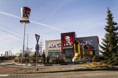 Internationaal het bedrijfembleem van het het snelle voedselrestaurant van KFC op 25 Februari, 2017 in Praag, Tsjechische republi Royalty-vrije Stock Foto