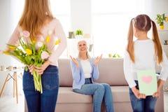 Internationaal het comfortconcept van de vrouwen` s dag Mum verbergende tulpen beh stock fotografie