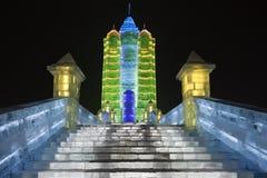 Internationaal Ijs en Sneeuwbeeldhouwwerkfestival, Harbin, China Stock Afbeeldingen