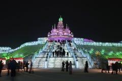 Internationaal Ijs en Sneeuwbeeldhouwwerkfestival, Harbin, China Stock Fotografie