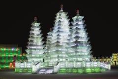 Internationaal Ijs en Sneeuwbeeldhouwwerkfestival, Harbin, China Royalty-vrije Stock Foto's