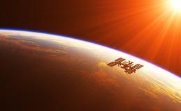 Internationaal Ruimtestation in de Stralen van het Toenemen Zon Stock Foto