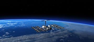 Internationaal Ruimtestation in Ruimte 3d scène vector illustratie