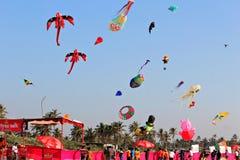 Internationaal Vliegerfestival in Colva, Goa India Stock Afbeelding