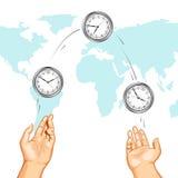 international руки часов жонглируя показывающ времена иллюстрация вектора