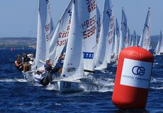 International 420 class. Taken at Junior 420&470 class european championship in Zadar ,Croatia, 08-15.2008 Royalty Free Stock Images