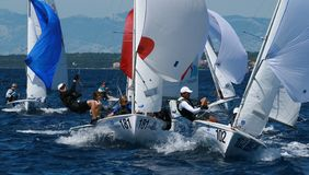 International 420 class. Taken at Junior 420&470 class european championship in Zadar ,Croatia, 08-15.2008 Stock Photos