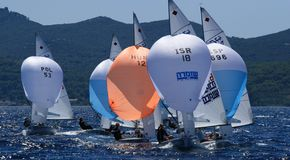 International 470 class. Taken at Junior 420&470 class european championship in Zadar ,Croatia, 08-15.2008 Royalty Free Stock Photo