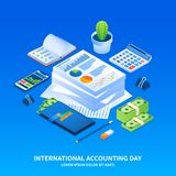 International accounting day concept background, isometric style royalty free illustration