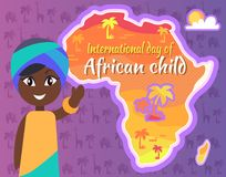 International African Child Day Postcard with Gril Stock Image