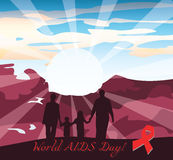 International AIDS Day Vector. Illustration. Place for text royalty free illustration