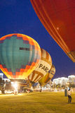 International Air-Balloons During Night Show and Glowing on  International Aerostatics Cup Stock Photos