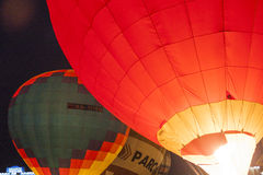 International Air-Balloons During Night Show and Glowing on  International Aerostatics Cup Stock Image