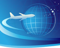 International airlines. Plane flying around the earth. International airlines Royalty Free Stock Images