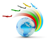 International airlines, air travel and global transportation concept Stock Images