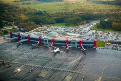 International airport aerial view at fall Royalty Free Stock Image