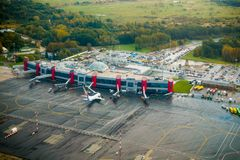 International airport aerial view at fall Stock Photography