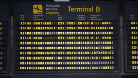 International Airport Arrivals Board stock footage