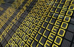 International Airport Board with Cancelled Flights Royalty Free Stock Images