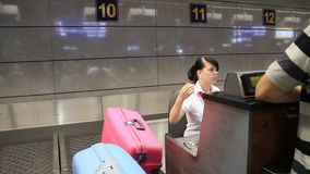 International airport Borispol. Check-in counter in new terminal F stock video footage
