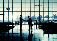 International Airport Business Travel Airport Handshake Concept Stock Photos