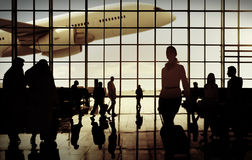 International Airport Commuter Passenger Traveling Concept Royalty Free Stock Photo