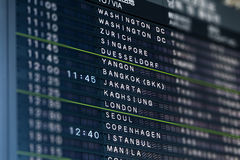 International Airport Flight Information Board Royalty Free Stock Image