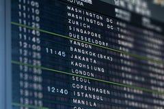 International Airport Flight Information Board Royalty Free Stock Image
