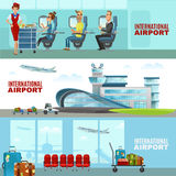 International Airport Horizontal Banners Stock Images