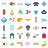 International airport icons set, cartoon style Stock Photos