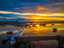 International airport landscape on sunset Royalty Free Stock Photography