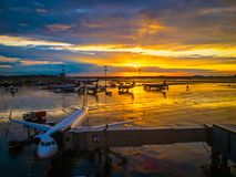 International airport landscape on sunset Stock Image
