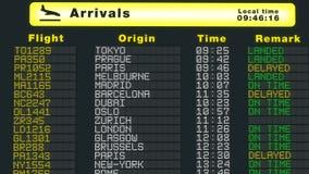International airport table arrivals schedule flights refresh flat screen update