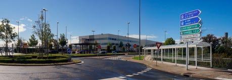 International Airport Terminal Exterior and Navigation Boards Stock Photos