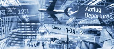 International airports and air travel Stock Photos
