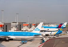 AMSTERDAM, NETHERLAND - OCTOBER 18, 2017: International Amsterdam Airport Schiphol with Airplanes in background. Viewing deck plac Stock Photos