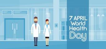 International April Holiday de jour de santé de médecin Couple Modern Hospital Images stock