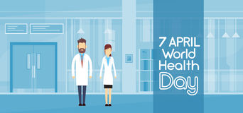 International April Holiday do dia da saúde do médico Couple Modern Hospital Imagens de Stock