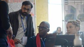 International architecht team listening to executive boss or colleague. lrrl teamwork discussing