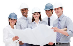 International architects holding a blueprint Royalty Free Stock Photography