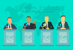 International Assembly, the policy of government. International Assembly, summit policy of government, nation, president The global situation meeting Stock Photo