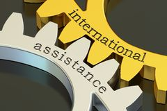 International Assistance concept on the gearwheels, 3D rendering. International Assistance concept on the gearwheels, 3D Stock Photos