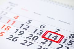 International Astrology Day, Valentines Day. Day number 14 mark. On the calendar, close-up stock images