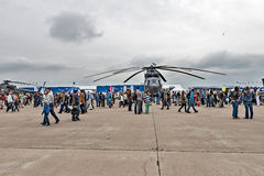 International aviation and space salon MAKS in Zhukovsky, Russia. ZHUKOVSKY, RUSSIA - AUGUST 30: a Demonstration of the aircraft at the International aviation Stock Photo
