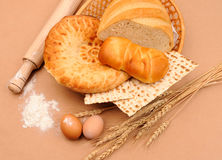 International bakery. With wheat ears and eggs Royalty Free Stock Photography