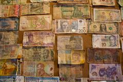 International bank notes collection on the board royalty free stock photo