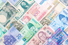 International banknote background, multiple currencies concept f Royalty Free Stock Photos